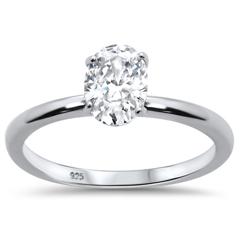 1.50ct 8x6mm Oval Cubic Zirconia .925 Sterling Silver Solitaire Engagement Ring Sizes 4-9