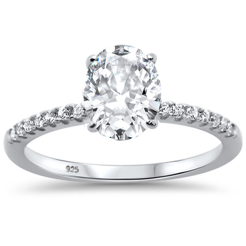 2.00ct 9x7mm Oval & Round Cubic Zirconia .925 Sterling Silver Solitaire Engagement Ring Sizes 4-9