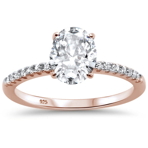 2.00ct 9x7mm Rose Gold Plated Oval & Round Cubic Zirconia .925 Sterling Silver Solitaire Engagement Ring Sizes 4-9