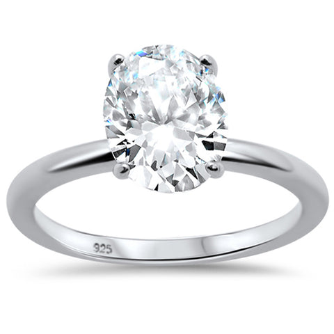 3.00ct 10x8mm Oval Cubic Zirconia .925 Sterling Silver Solitaire Engagement Ring Sizes 4-9