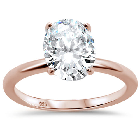 3.00ct 10x8mm Rose Gold Plated Oval Cubic Zirconia .925 Sterling Silver Solitaire Engagement Ring Sizes 4-9