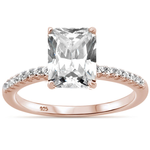 2.50ct 9x7mm Rose Gold Plated Radiant Cut & Round Cubic Zirconia .925 Sterling Silver Solitaire Engagement Ring Sizes 4-9