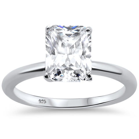 2.50ct 9x7mm Radiant Cut Cubic Zirconia .925 Sterling Silver Solitaire Engagement Ring Sizes 4-9