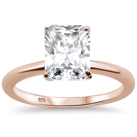 2.50ct 9x7mm Rose Gold Plated Radiant Cut Cubic Zirconia .925 Sterling Silver Solitaire Engagement RingSizes 4-9