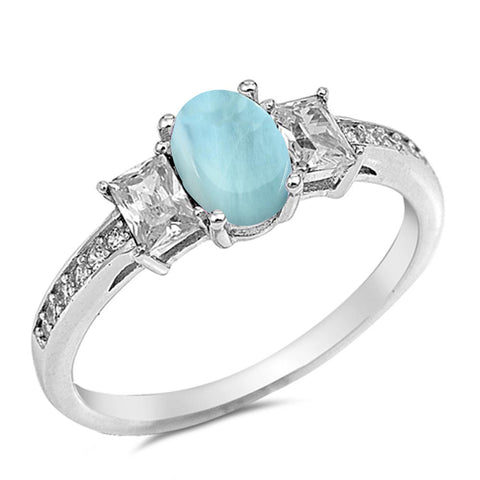 Oval Natural Larimar Cubic Zirconia  .925 Sterling Silver Ring Sizes 5-10