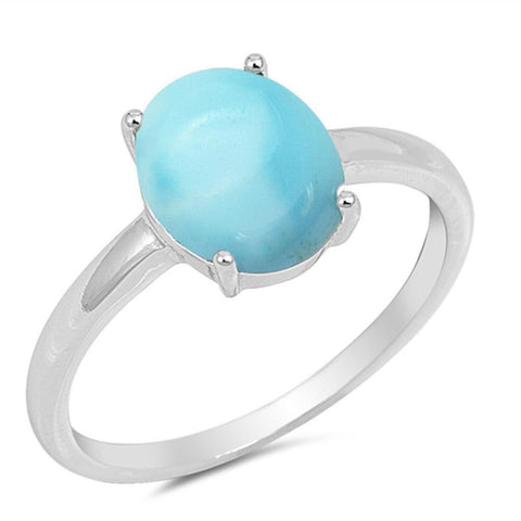 Solid Oval Natural Larimar .925 Sterling Silver Ring Sizes 5-10