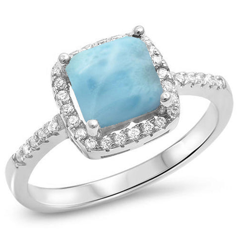 Sterling Silver Cushion Cut Natural Larimar .925 Sterling Silver Ring Sizes 5-10