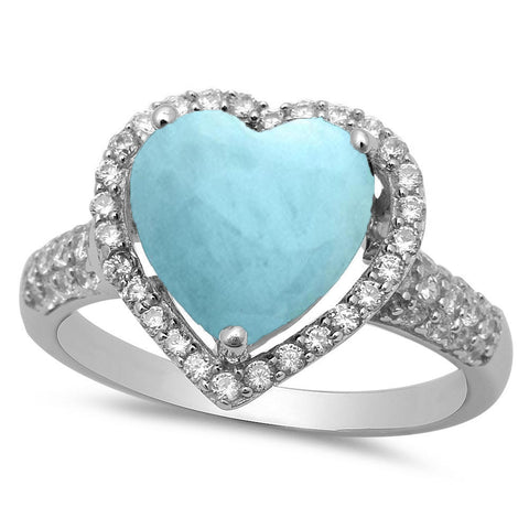 Sterling Silver Larimar Heart CZ .925 Sterling Silver Ring Sizes 5-10