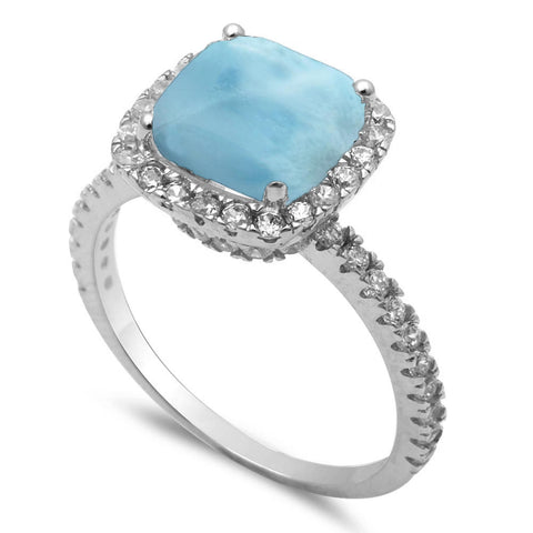 3ct Cushion Natural Larimar & Cubic Zirconia .925 Sterling Silver Ring Sizes 5-10