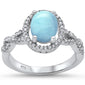 Twisted Prong Natural Larimar & Cz Fashion .925 Sterling Silver Ring Sizes 6-8