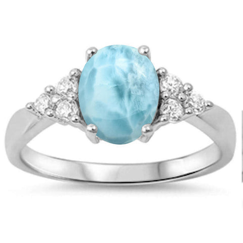 Oval Natural Larimar & Cubic Zirconia .925 Sterling Silver Ring Sizes 5-10