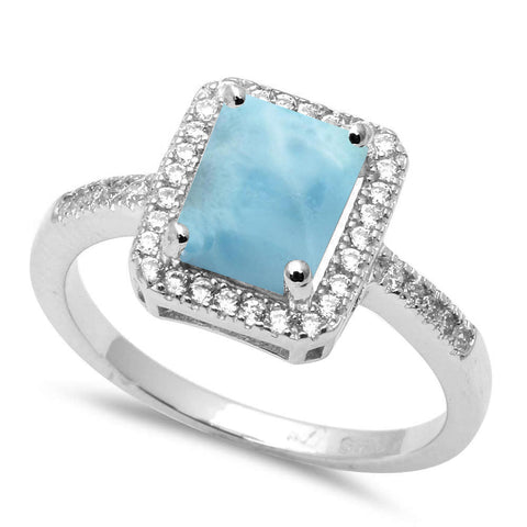 Radiant Shape Natural Larimar & Cubic Zirconia .925 Sterling Silver Ring Sizes 5-10