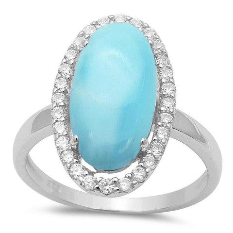 Halo Oval Natural Larimar & CZ .925 Sterling Silver Ring Sizes 5-10