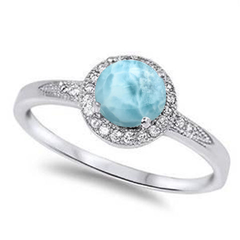 Halo Natural Larimar & White Cubic Zirconia .925 Sterling Silver Ring Sizes 5-10