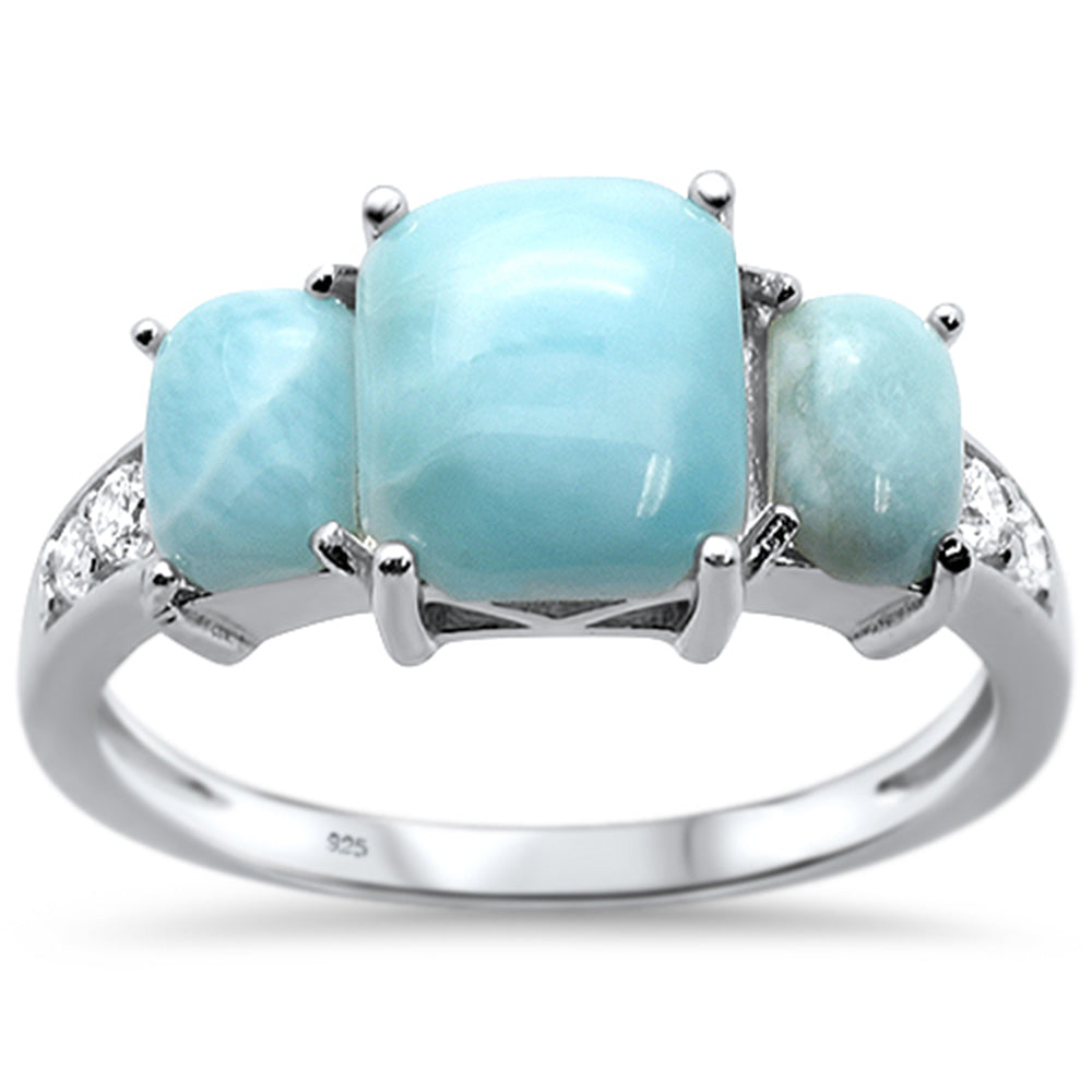 Natural Larimar Radiant Cut .925 Sterling Silver Ring Sizes 6-8