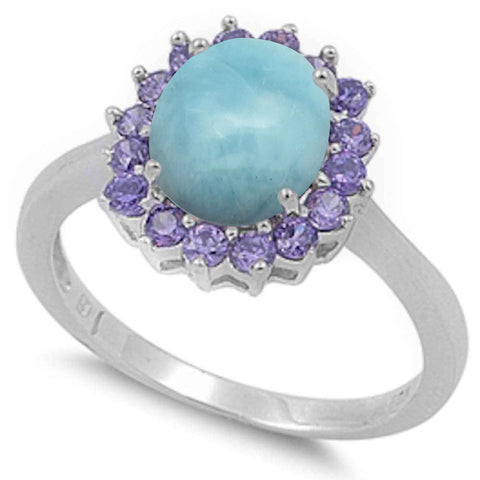 Oval Natural Larimar & Amethyst .925 Sterling Silver Ring Sizes 5-10
