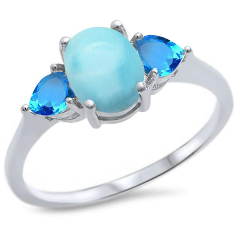 Oval Natural Larimar & heart Blue Topaz .925 Sterling Silver Ring Sizes 5-10
