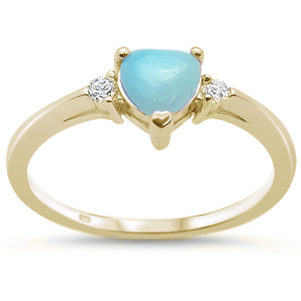 Yellow Gold Plated Natural Larimar Heart & Cubic Zirconia  .925 Sterling Silver Ring Sizes 6-8