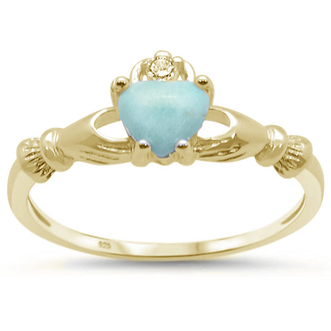Yellow Gold Plated Natural Larimar Claddagh .925 Sterling Silver Ring Sizes 6-8