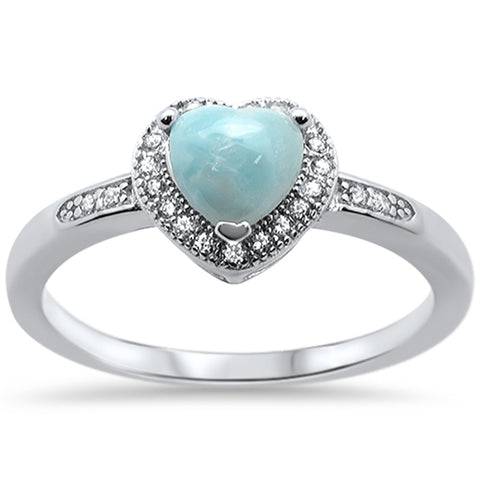 Natural Larimar Heart Shape .925 Sterling Silver Ring Sizes 5-10