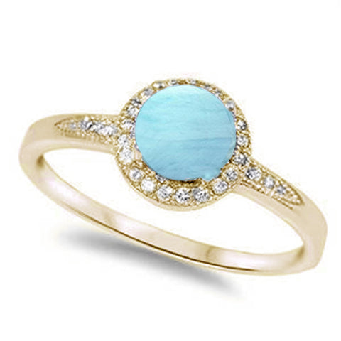 Yellow Gold Plated Halo Natural Larimar & Cubic Zirconia .925 Sterling Silver Ring Sizes 6-8