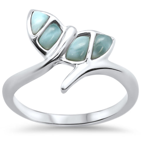 Natural Larimar Whale Tail .925 Sterling Silver Ring Sizes 5-10