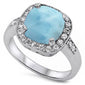 Cushion Cut Natural Larimar Halo Ring .925 Sterling Silver Ring Sizes 5-10
