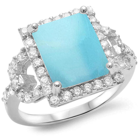Radiant Shape Natural Larimar & Sparkling Cubic Zirconia .925 Sterling Silver Ring Sizes 6-8