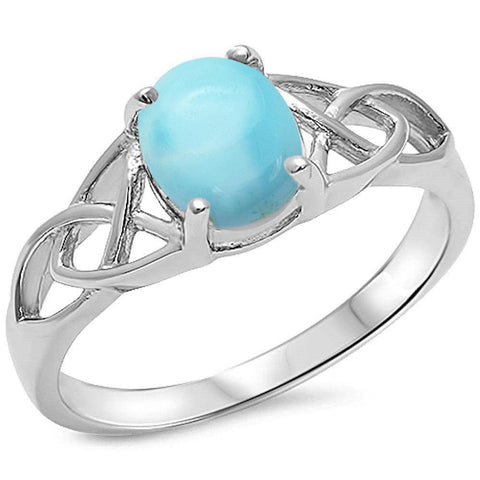 Natural Larimar Cetlic Design .925 Sterling Silver Ring Sizes 5-10