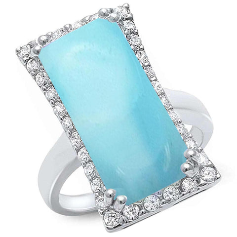 Cocktail Style Natural Larimar & Cubic Zirconia .925 Sterling Silver Ring Sizes 5-10