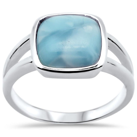Cushion Natural Larimar .925 Sterling Silver Ring Sizes 6-8