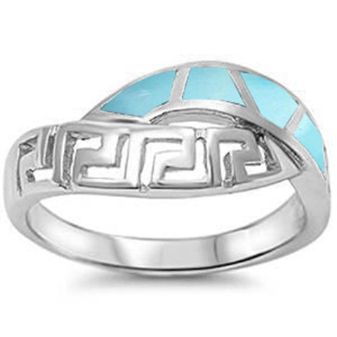 Natural Larimar New Design .925 Sterling Silver Ring Sizes 4-10