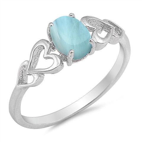 Natural Larimar with heart .925 Sterling Silver Ring Sizes 5-10