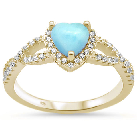 Yello Gold Plated Natural Larimar Heart with Cubic Zirconia .925 Sterling Silver Ring Sizes 7-9