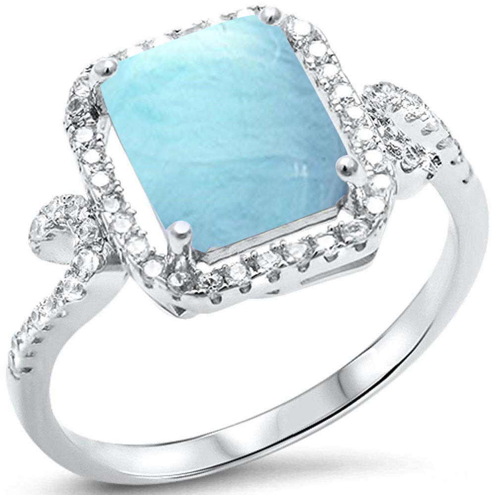 Natural Larimar & Cubic Zirconia Radiant Cut .925 Sterling Silver Ring Sizes 6-8