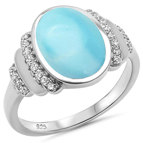 Natural Larimar & Cubic Zirconia .925 Sterling Silver Ring Sizes 5-10