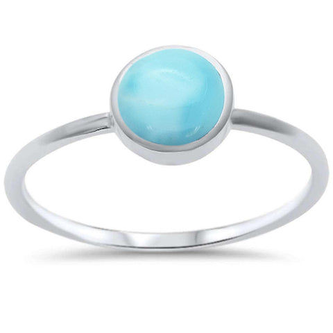 Round Natural Larimar .925 Sterling Silver Ring Sizes 5-10