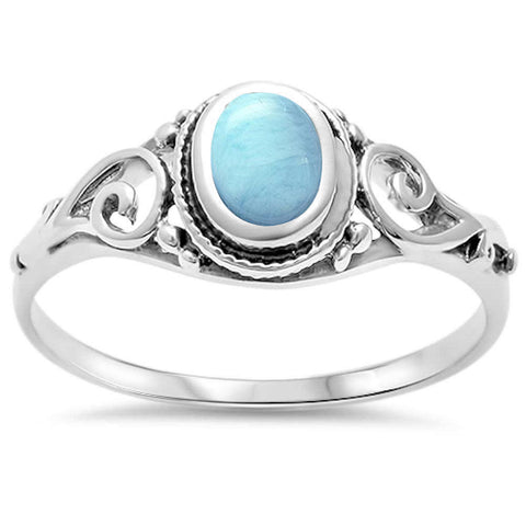 Natural Larimar Filigree .925 Sterling Silver Ring Sizes 5-10
