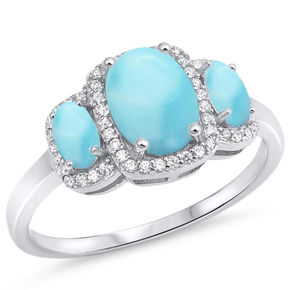 Oval Natural Larimar Halo Cubic Zirconia .925 Sterling Silver Ring Sizes 5-10