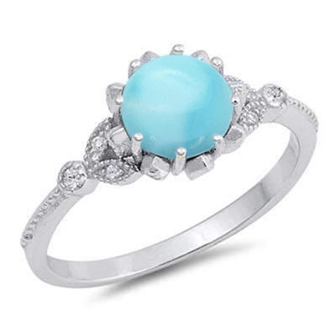 Natural Larimar & CZ Round Shape with Bezel .925 Sterling Silver Ring Sizes 5-9