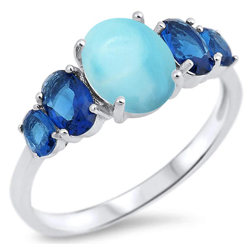 Oval Natural Larimar & Blue sapphire .925 Sterling Silver Ring Sizes 5-10