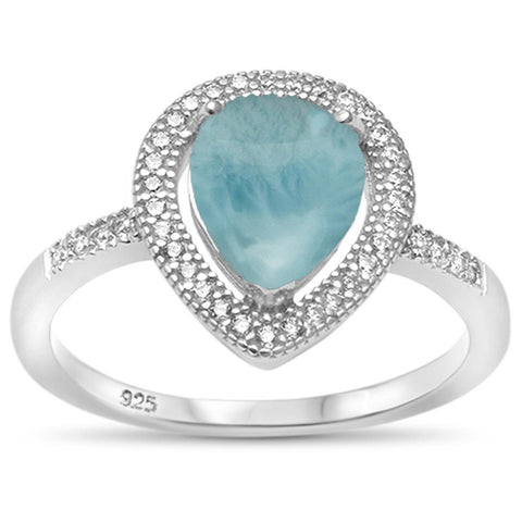 Pear Natural Larimar Tear Drop Halo .925 Sterling Silver Ring Sizes 5-10
