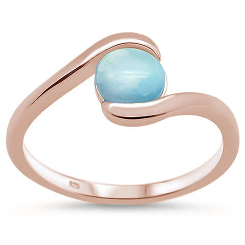 Rose Gold Plated Natural Round Larimar .925 Sterling Silver Ring Sizes 7