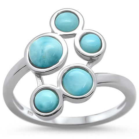 Natural Larimar Paw Design .925 Sterling Silver Ring Sizes 6-8