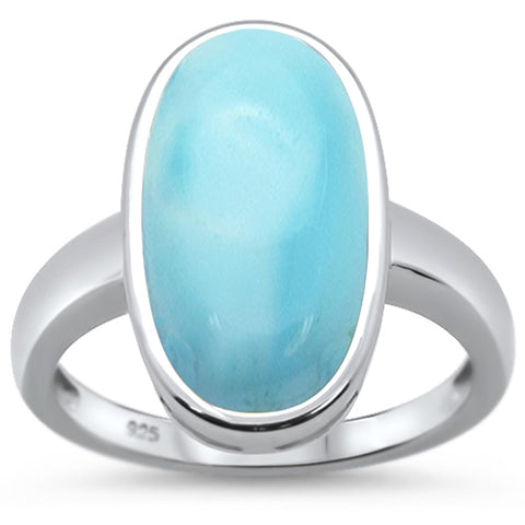 Natural Larimar Oval .925 Sterling Silver Ring Sizes 6-8