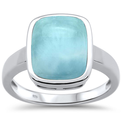 Natural Larimar Emerald Cut .925 Sterling Silver Ring Sizes 6-8