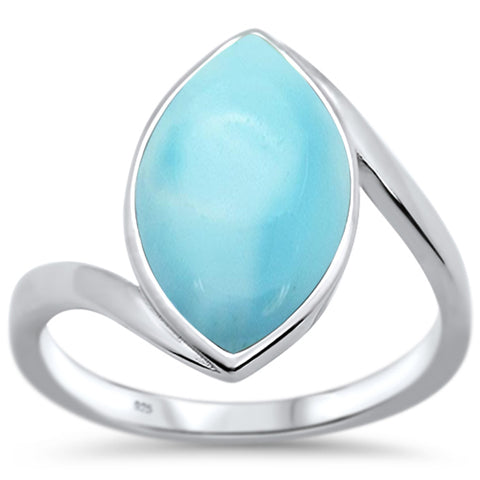 Natural Larimar Marquise .925 Sterling Silver Ring Sizes 6-8