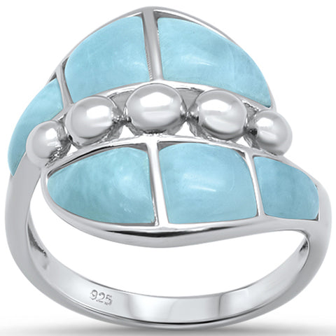 Natural Larimar Fashion .925 Sterling Silver Ring Sizes 6-8