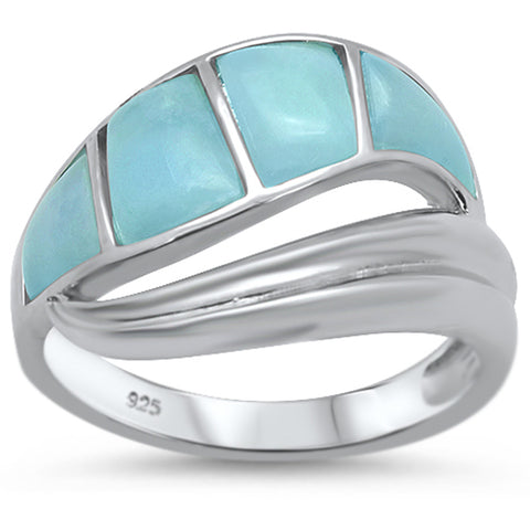 Natural Larimar New Design Wave .925 Sterling Silver Ring Sizes 5-10