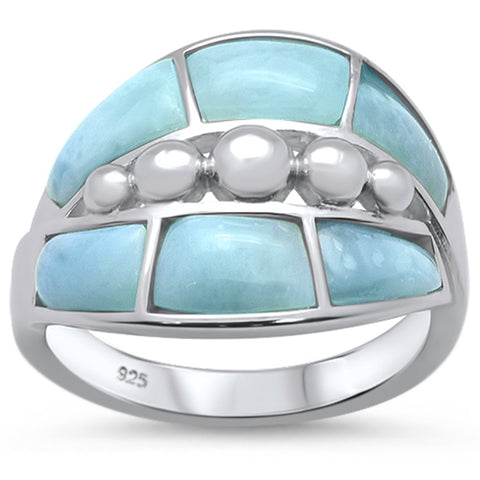 Natural Larimar New Design .925 Sterling Silver Ring Sizes 6-8